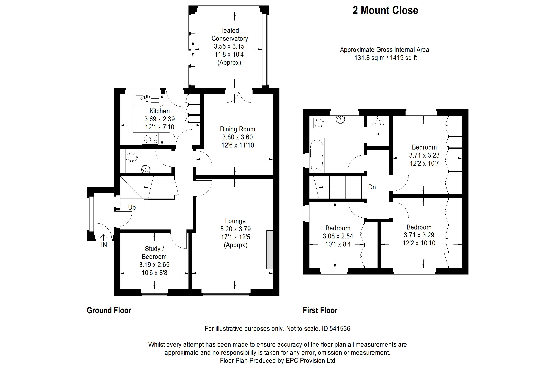 Floorplan for Mount Close, Frampton Cotterell.